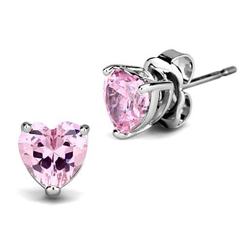 Pink Heart Rhodium-Plated Earrings