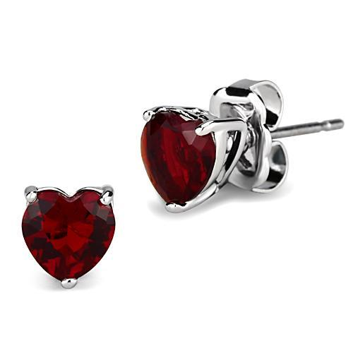 Ruby Heart-Shaped, Rhodium-Plated Earrings