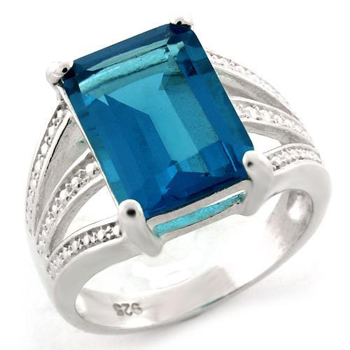 925 Silver Ring with Large, Sea-Blue, Synthetic Stone