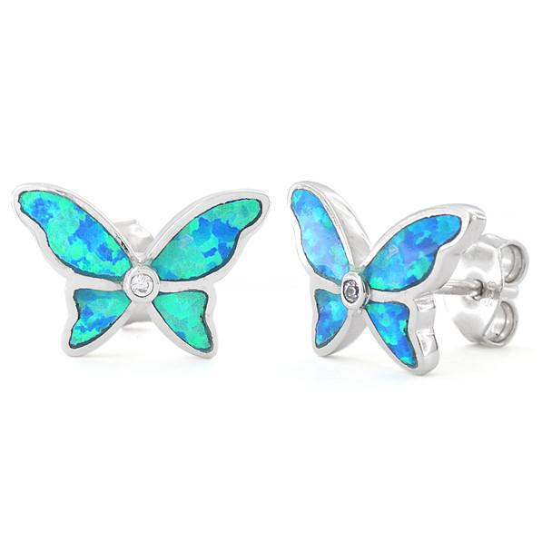 Sterling Silver Lab Opal Butterfly Earrings