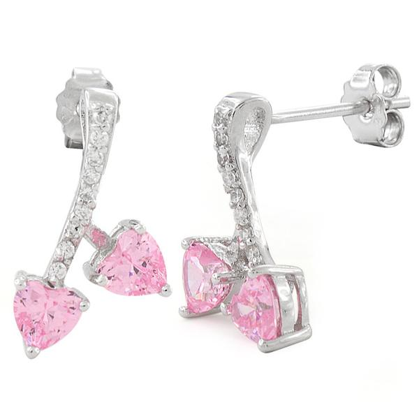 Sterling Silver Cherry Hearts Pink