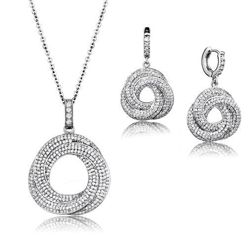 3 Piece Rhodium-Plated Set