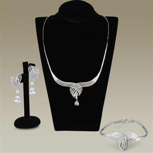 4 Piece Rhodium-Plated Set