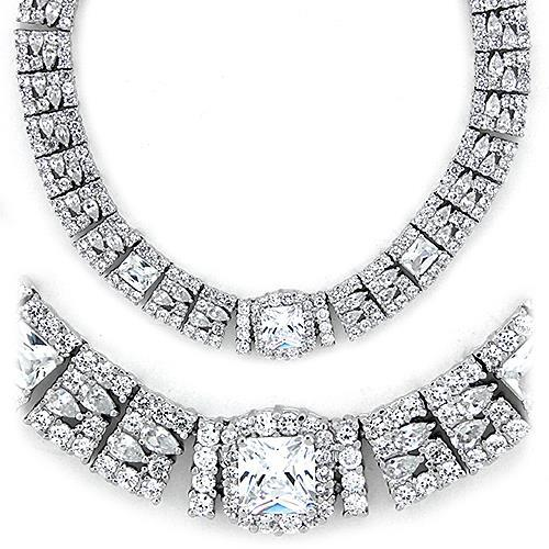 925 Sterling Silver Necklace Rhodium Women AAA Grade CZ Clear