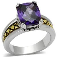 Two-Tone Rhodium-/Gold-Plated with Amethyst CZ