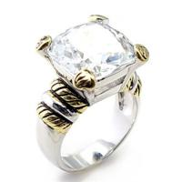 Two-Tone Rhodium-/Gold-Plated with Clear CZ