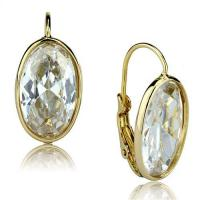 Large, Single Stone Gold Earrings