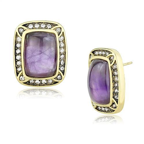 Amethyst, Gold-Plated Earrings