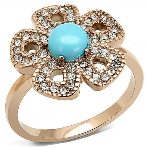 Rose Gold (ion-plated) Flower with Simulated Turquoise Center