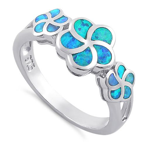 925 Floral Design with Lab Opals